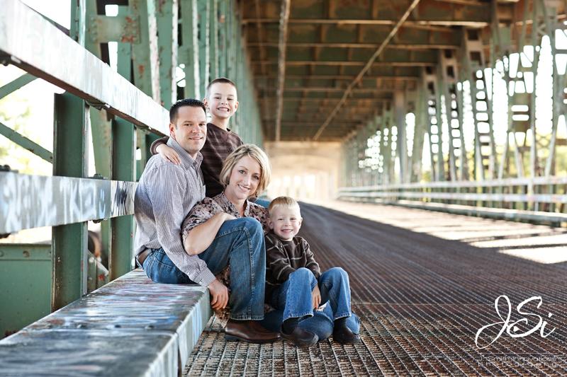 KC Family Photographer Urban photos on bridge
