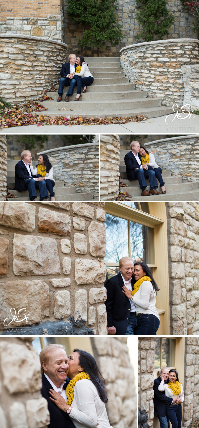 Kansas City Country Club Plaza engagement session photos