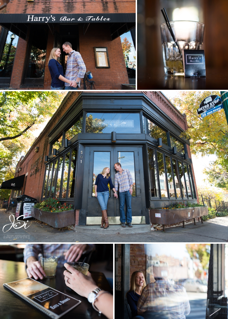 KC Westport engagement session photo Harry's Bar and Tables