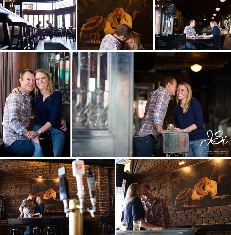 KC Westport engagement session photo Harry's Bar and Table