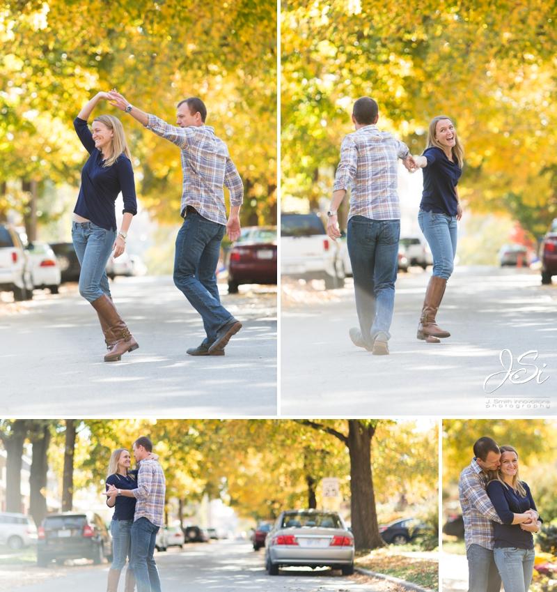 KC Westport engagement session dancing in street photo