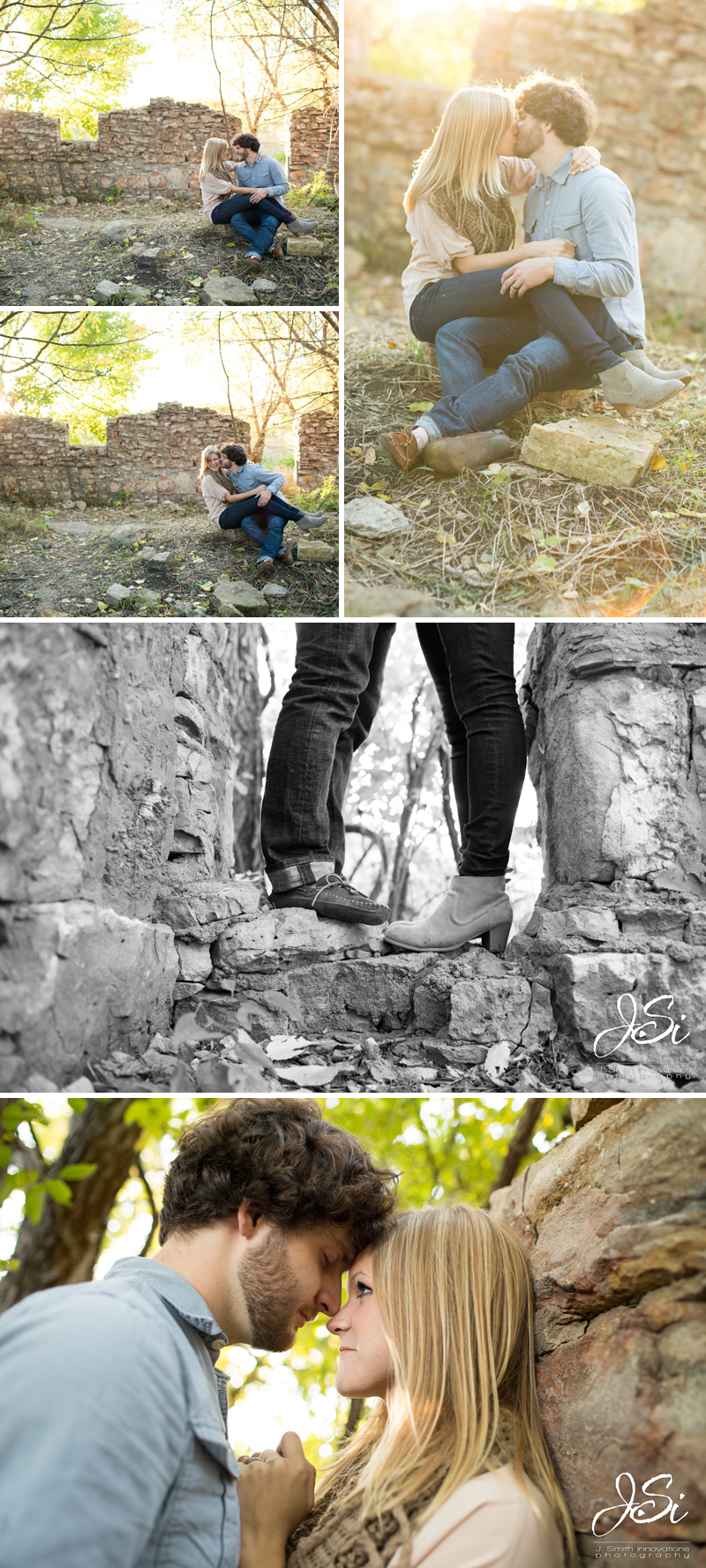 KC sweet rustic engagement session photo