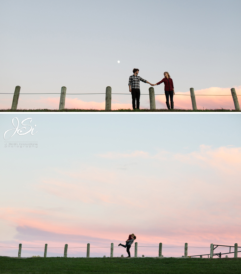 KC sweet rustic engagement session silhouette photo