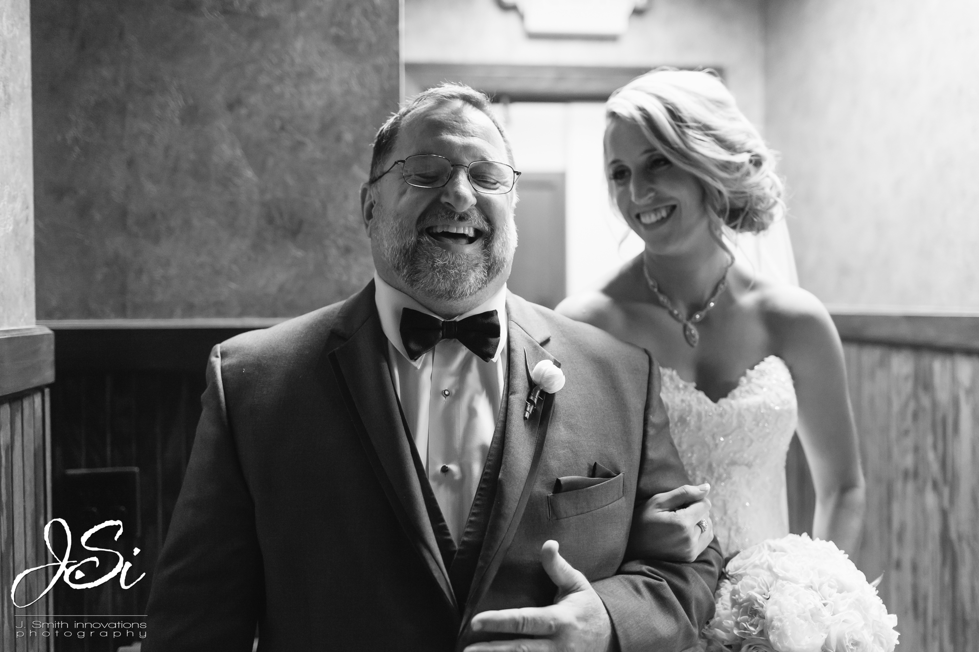 Kansas City husband wife wedding photographer team photo blog father bride laughing photo