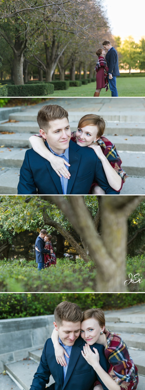 Kansas City Nelson Atkins Museum of Art playful affectionate engagement session photo