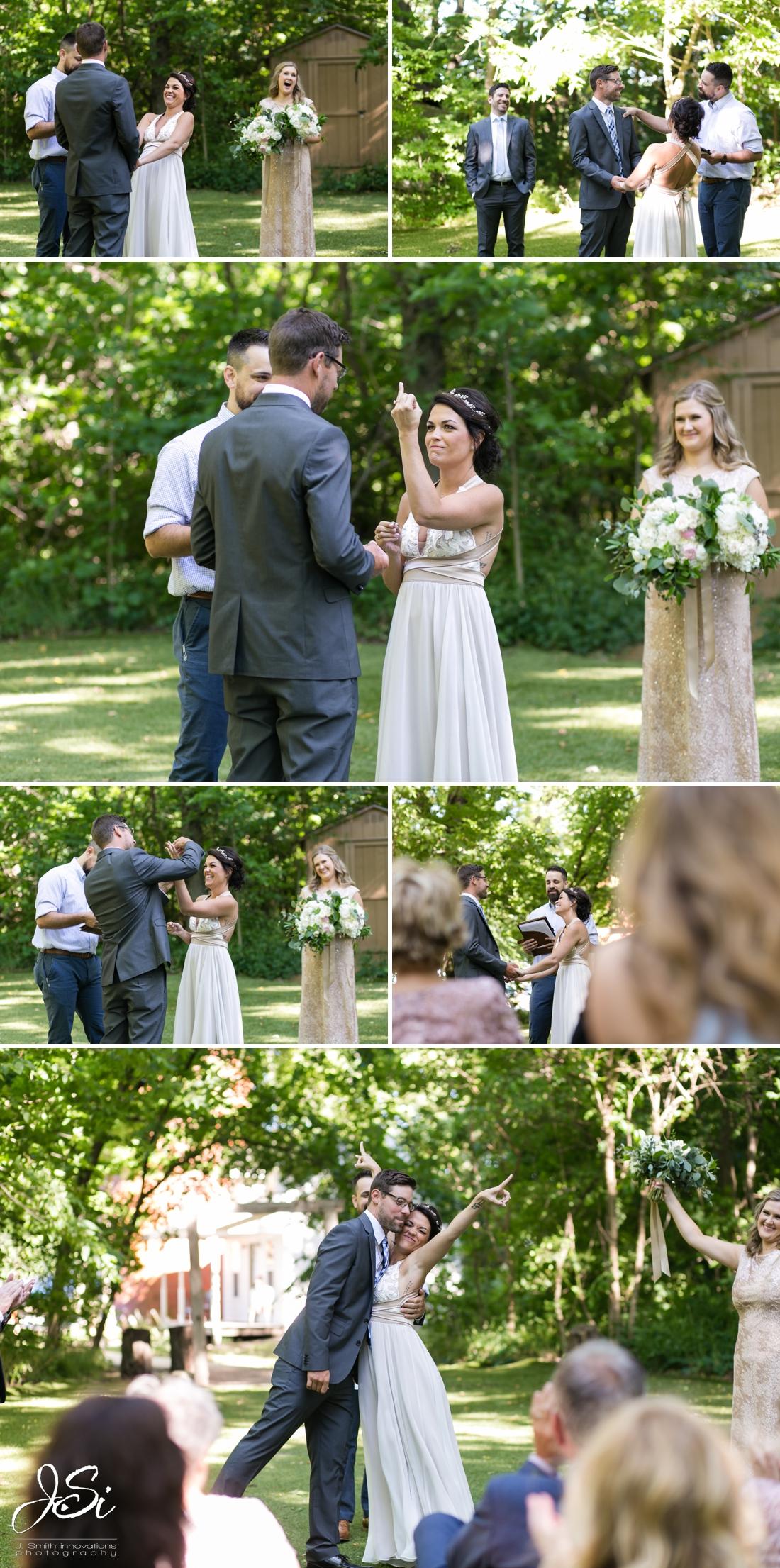 Barn at Schwinn Produce Farm happy candid surprise wedding ambush ceremony photo