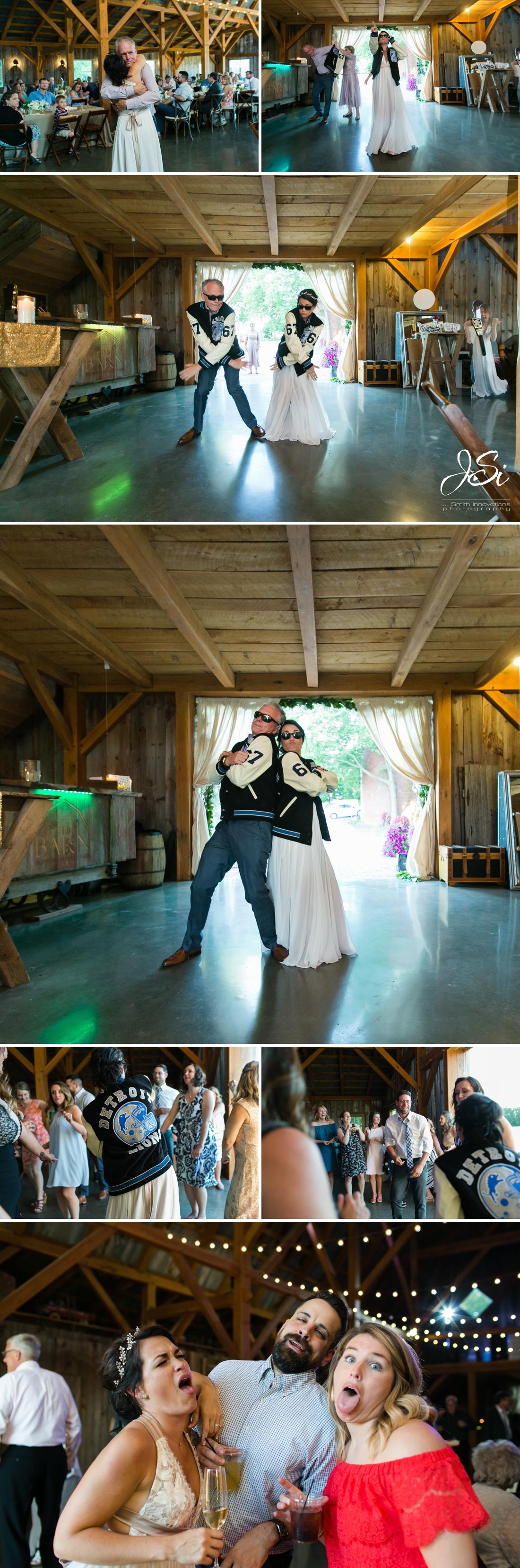 Barn at Schwinn Produce Farm happy candid surprise wedding Beverly Hills Cop dance photo