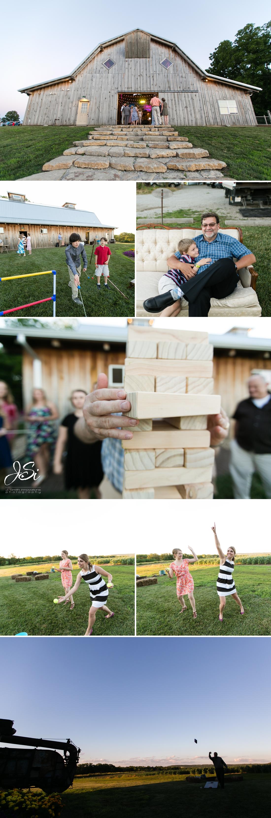 Barn at Schwinn Produce Farm happy candid surprise wedding yard games photo