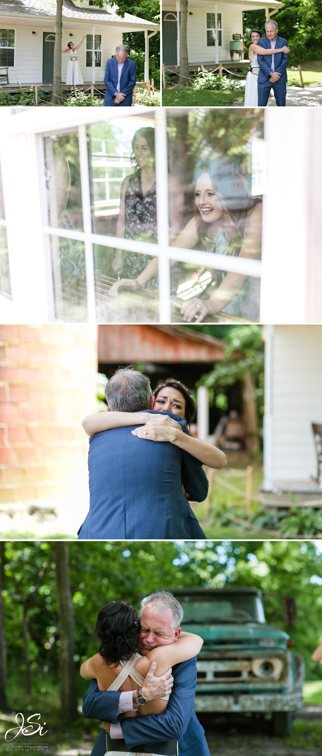 Barn at Schwinn Produce Farm happy candid surprise wedding dad first look photo