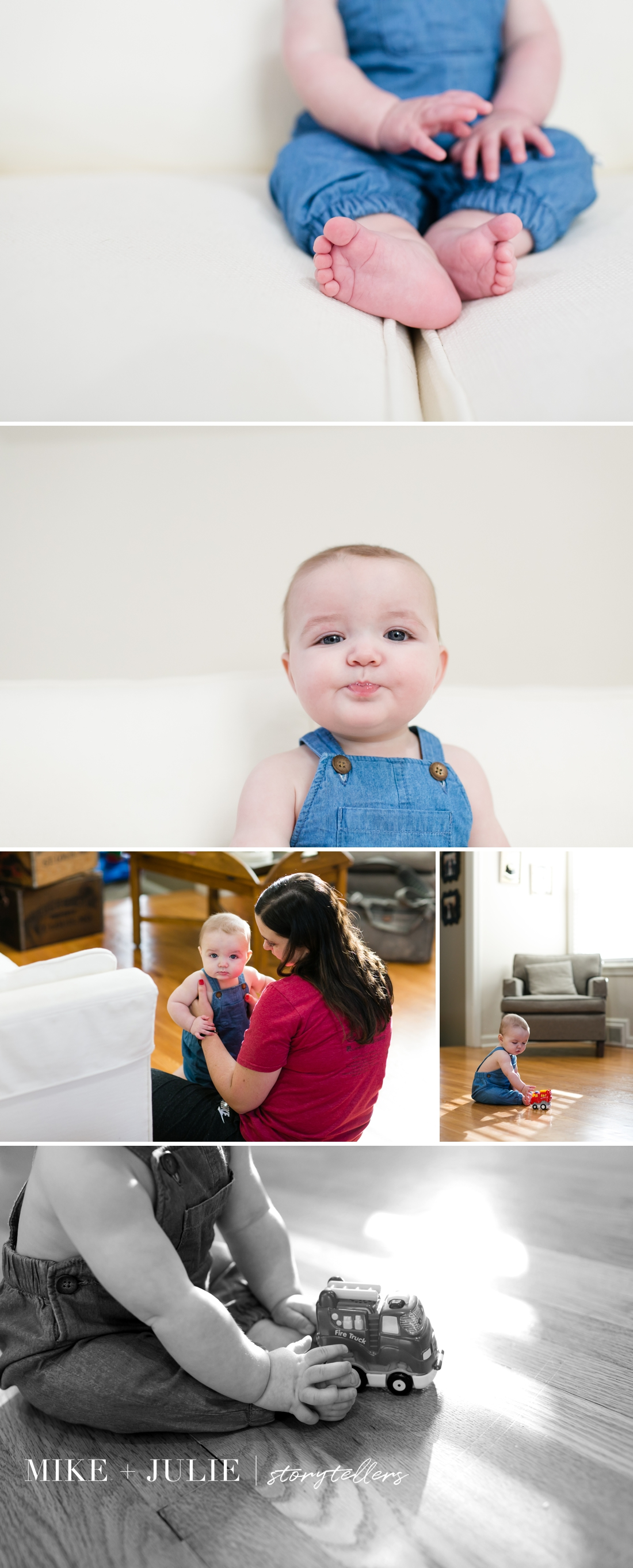 Kansas City adorable in-home lifestyle 6 month milestone baby photo session picture