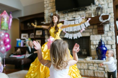 Kansas City birthday party photographer girl dancing with Disney princess Belle photo