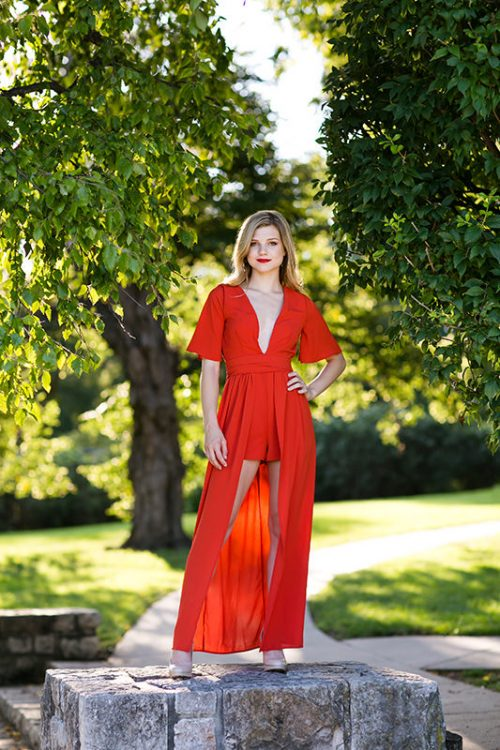Kansas City photographers stunning red dress in park senior girl