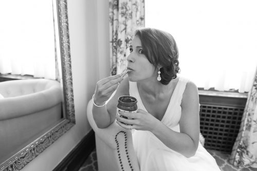 real moment laid back bride eating Nutella picture