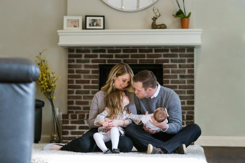 sweet picture of family during genuine newborn session