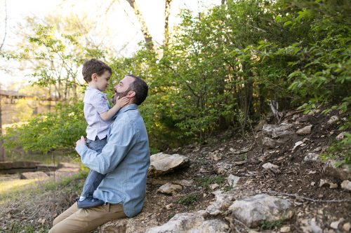 tender father son moment during KC family photography session