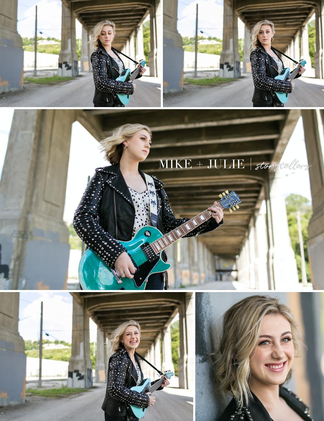 Kansas City senior photographers fun senior pictures Darcie Hingula Songs in the Key of Ukulele bridge guitar