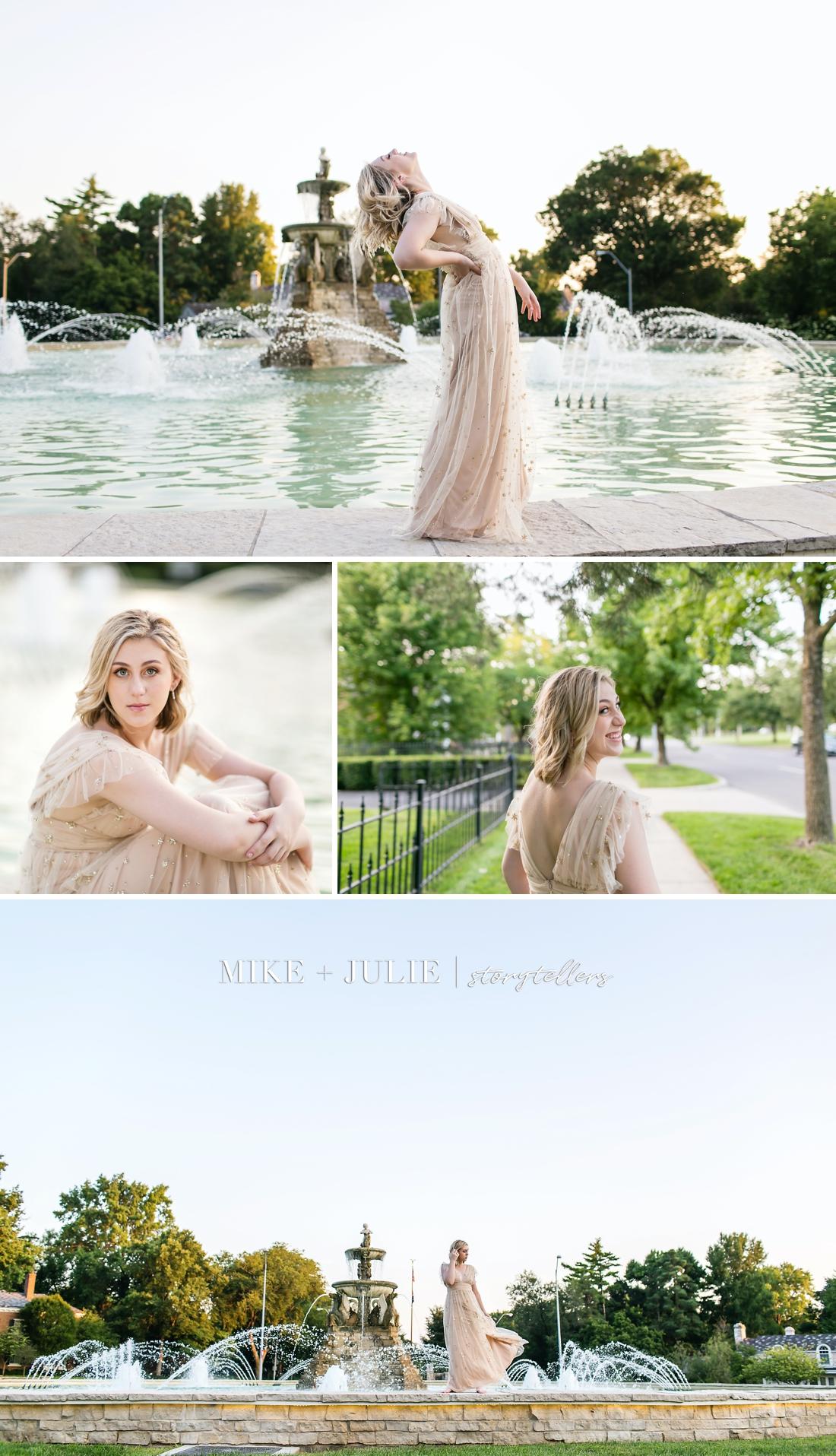 Kansas City senior photographers fun senior pictures Darcie Hingula Songs in the Key of Ukulele beautiful fountain