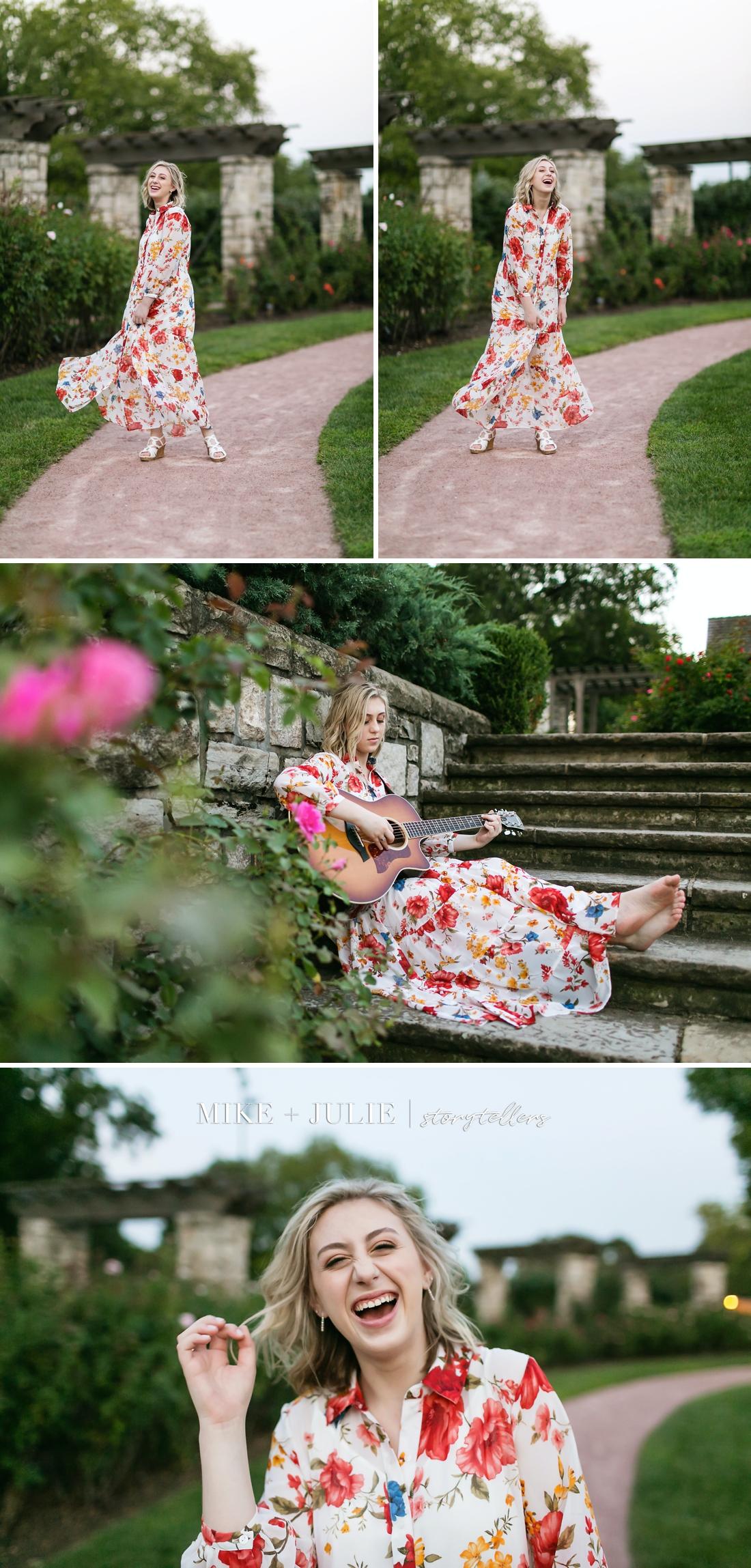 Kansas City senior photographers fun senior pictures Darcie Hingula Songs in the Key of Ukulele stunning Rose Garden