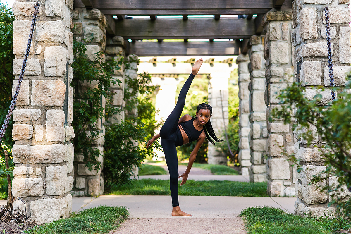 dancer photo tilt kick in Loose Park Rose Garden KC