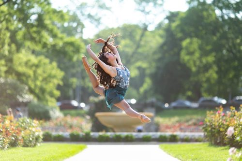 dancer portrait jump firebird cabriole in Loose Park Rose Garden