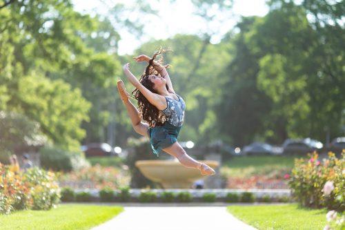 dancer portrait jump firebird cabriole in Loose Park Rose Garden