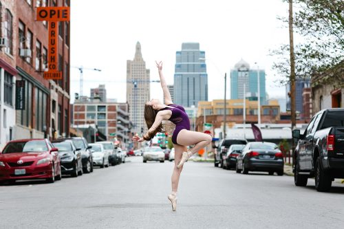 stunning Kansas City skyline dance photo