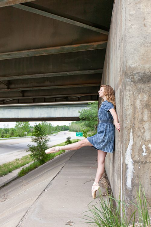 unique dancer portrait under bridge photo